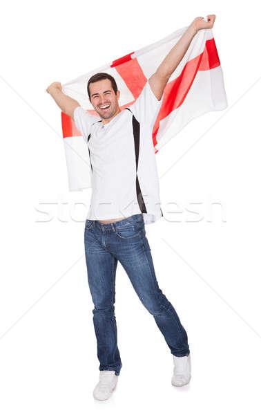 Portré boldog férfi tart angol zászló csinos Stock fotó © AndreyPopov