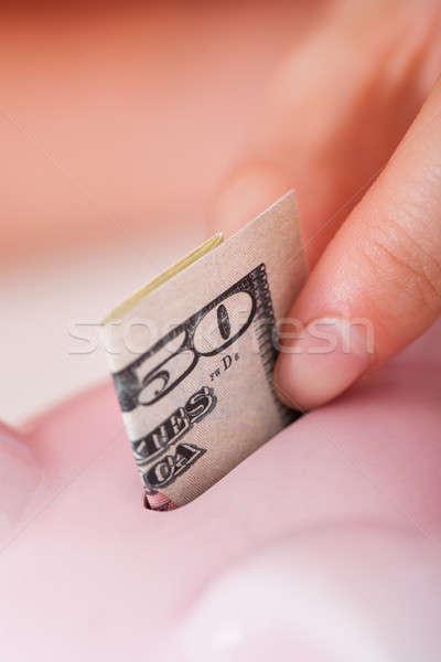 Kéz 50 dollár számla persely közelkép Stock fotó © AndreyPopov