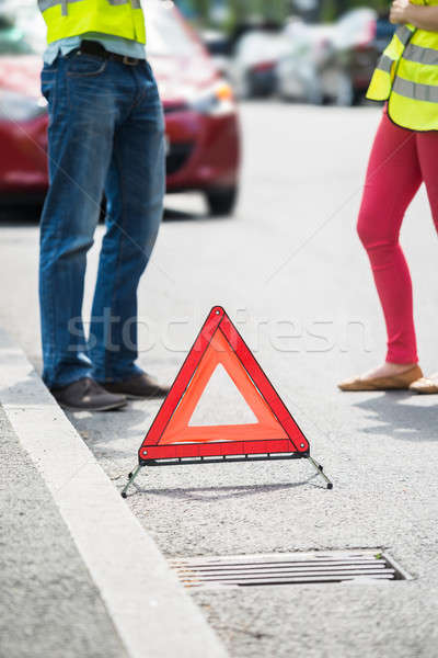 Couple Using Mobile Phone With Broken Down Car Stock photo © AndreyPopov