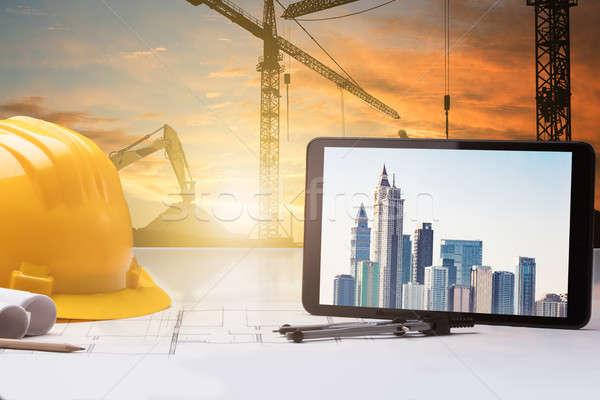 Digitalen Tablet Blaupause Baustelle Stock foto © AndreyPopov