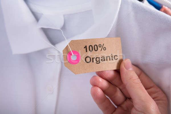 Stock fotó: Nő · tart · címke · mutat · 100 · százalék