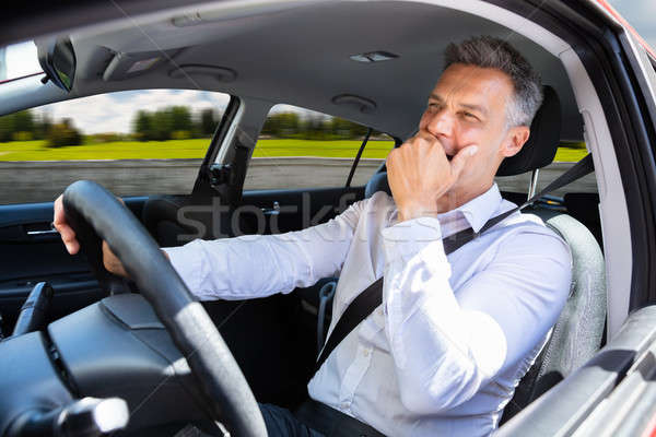 Férfi ásít utazó autó közelkép érett férfi Stock fotó © AndreyPopov
