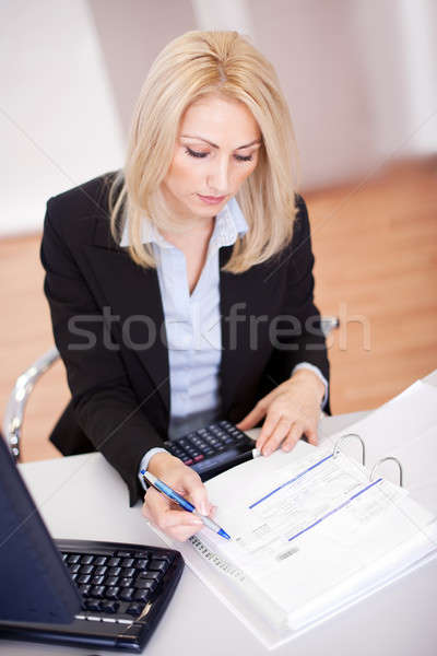 Zdjęcia stock: Piękna · kobieta · interesu · biuro · pracy · pióro