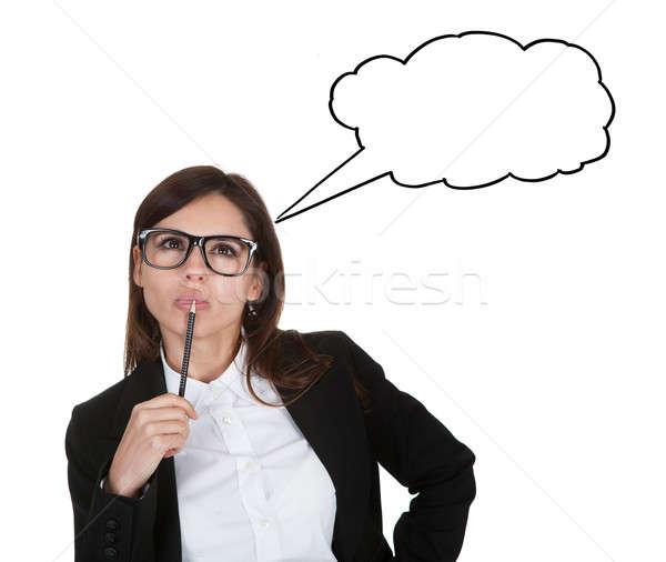 Foto stock: Mujer · de · negocios · lápiz · blanco · negocios
