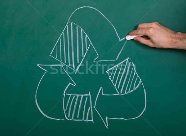 Recycler symbole blanche craie tableau Photo stock © AndreyPopov