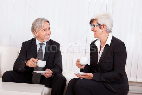 Senior pausa caffè sorridere business Foto d'archivio © AndreyPopov