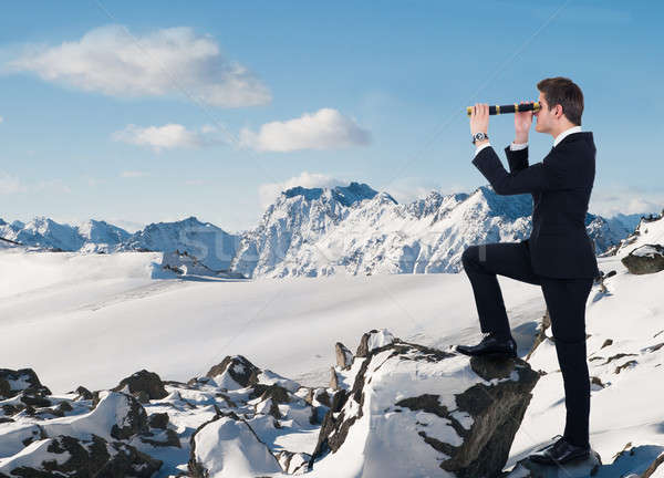 Businessman Looking Through Handheld Telescope In Snow Stock photo © AndreyPopov