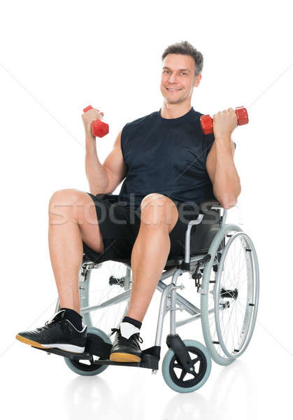 Handicapped Man On Wheelchair Working Out Stock photo © AndreyPopov
