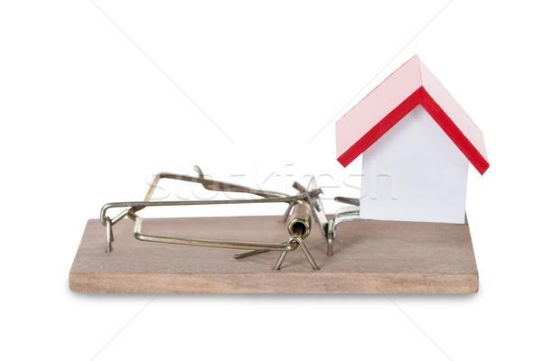 Foto stock: Primer · plano · casa · modelo · casa · rojo · arquitectura