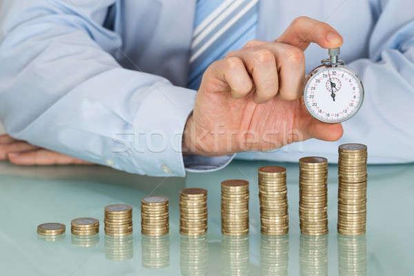 Foto stock: Empresario · cronógrafo · primer · plano · monedas