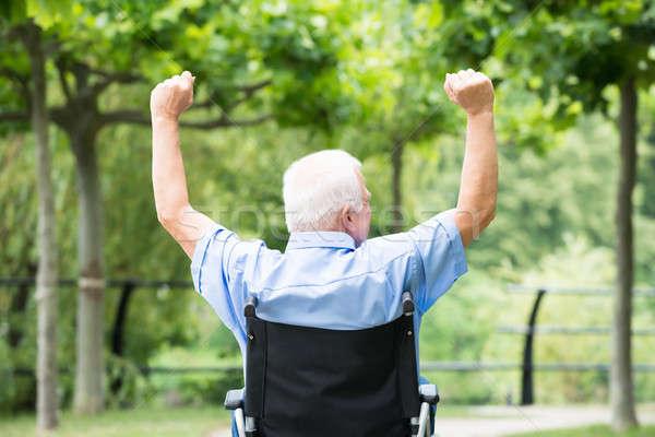 Senior Man On Wheelchair Raising His Arm Stock photo © AndreyPopov