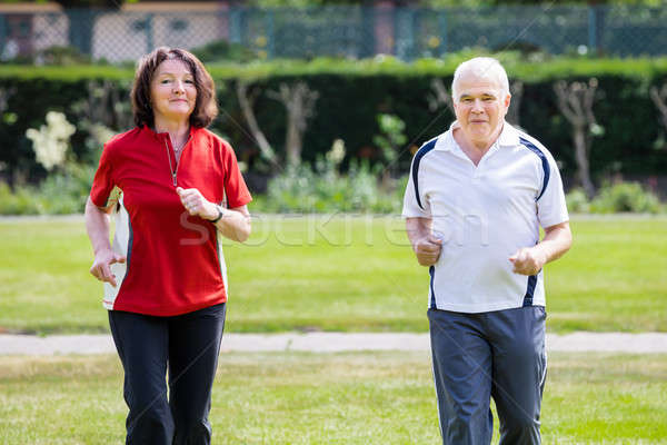 Stockfoto: Paar · lopen · park · glimlachend · samen