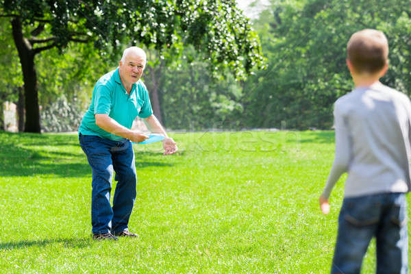 Grandson And Grandfather Playing With Flying Disk Stock photo © AndreyPopov