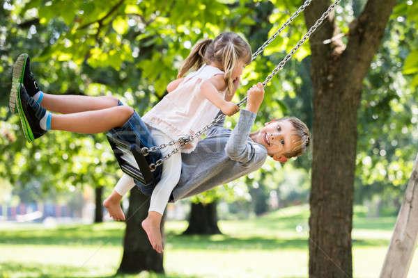 брат сестра Swing парка счастливым Сток-фото © AndreyPopov