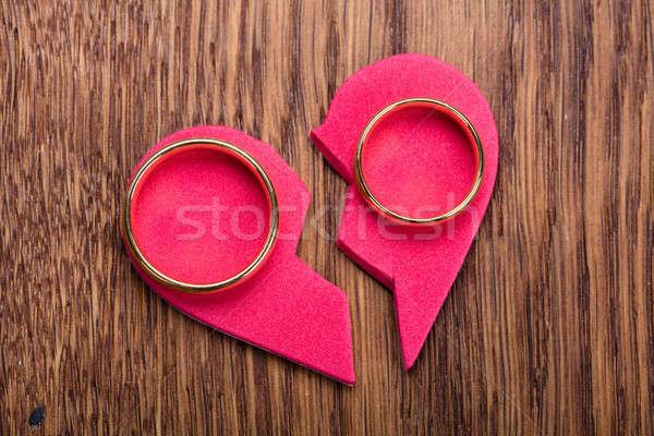 Golden Ring On Red Broken Heart Stock photo © AndreyPopov