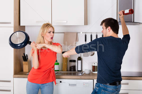 пару другой кухне развод борьбе Сток-фото © AndreyPopov