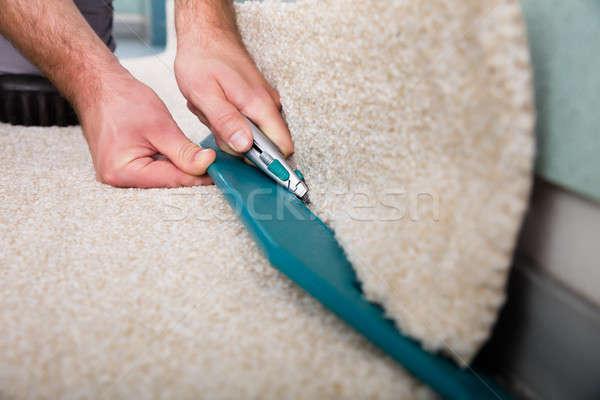 Foto stock: Artesão · mãos · tapete