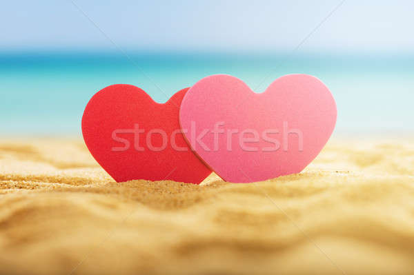 Two Heart On Sand Beach Stock photo © AndreyPopov