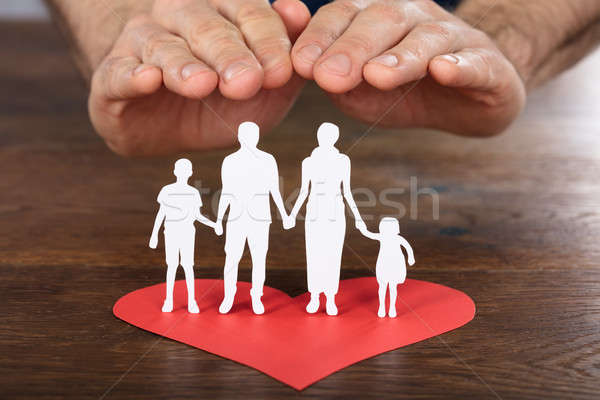 Person Hand Protecting Family Paper Cut Stock photo © AndreyPopov