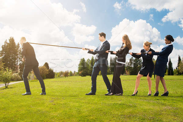 Business People Pulling A Rope In Opposite Direction Stock photo © AndreyPopov