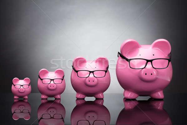 Pink Piggybanks Wearing Eyeglasses Stock photo © AndreyPopov