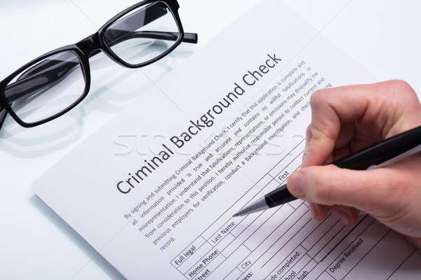 Personne remplissage criminelle vérifier forme Photo stock © AndreyPopov