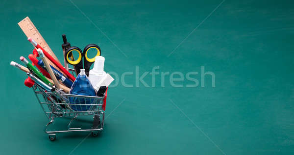 Cart With Various School Supplies Stock photo © AndreyPopov
