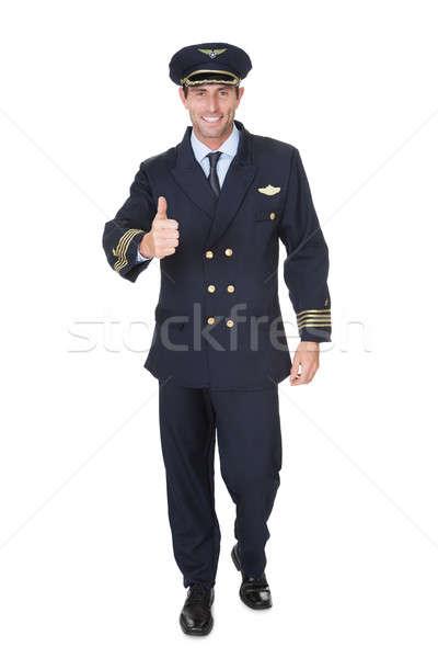 Portret pilota odizolowany biały strony szczęśliwy Zdjęcia stock © AndreyPopov