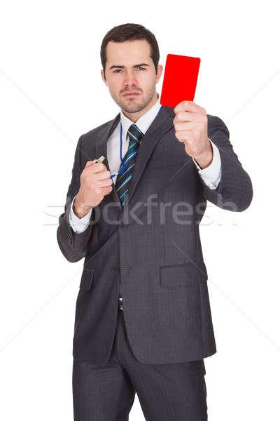 Stock fotó: üzletember · mutat · piros · kártya · izolált · fehér