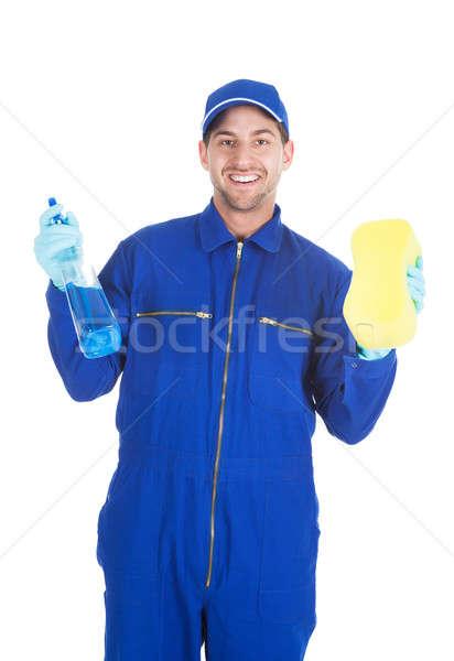 Szolgáló tart takarítás spray szivacs portré Stock fotó © AndreyPopov