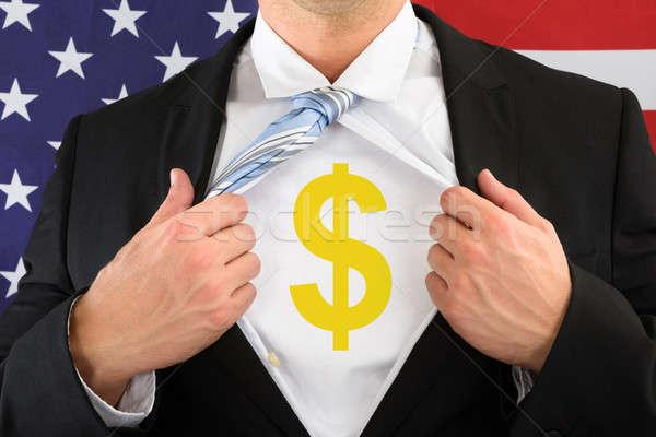 Affaires shirt signe du dollar Photo stock © AndreyPopov