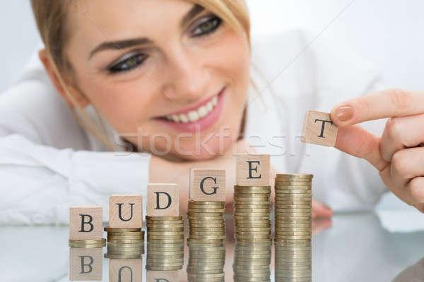 Empresária orçamento blocos moedas Foto stock © AndreyPopov