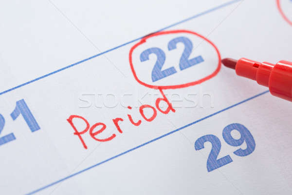 Calendar With Marked Menses Date Stock photo © AndreyPopov