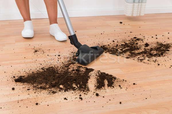 Személy porszívó takarítás padló közelkép kosz Stock fotó © AndreyPopov