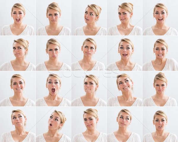 коллаж женщину различный Выражения белый Сток-фото © AndreyPopov