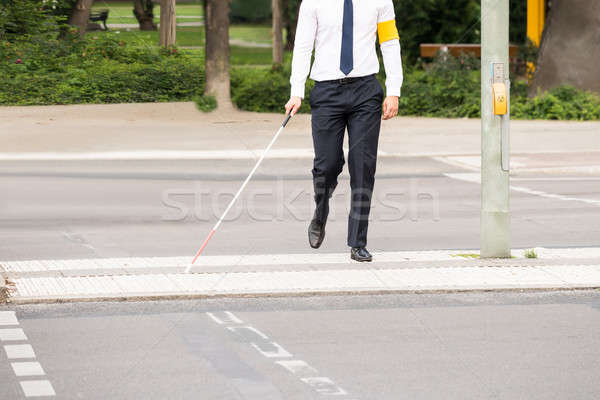 Vak személy sétál utca fehér bot Stock fotó © AndreyPopov