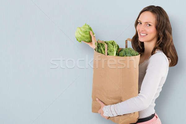 Stok fotoğraf: Kadın · bakkal · alışveriş · çantası · mutlu · sebze
