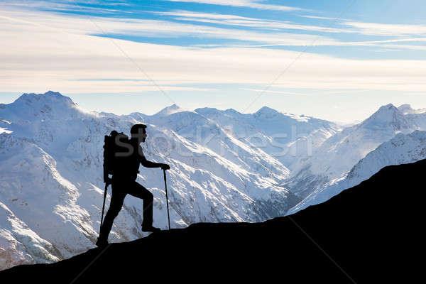 Man Hiking On Rocky Mountain Stock photo © AndreyPopov