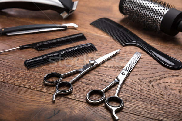 An Hairdresser Tools On Desk Stock photo © AndreyPopov