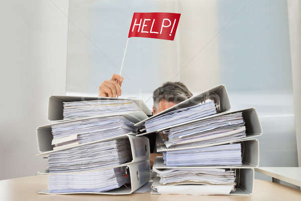 Businessman Hand With Red Help Flag Stock photo © AndreyPopov