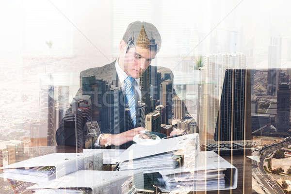 Işadamı muhasebe ofis şehir çift maruz kalma Stok fotoğraf © AndreyPopov