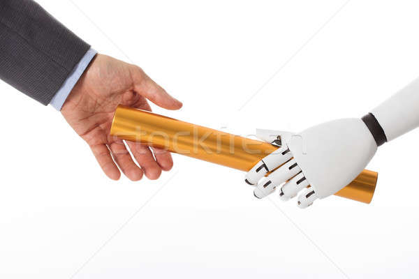 Robot Hand Giving Baton To Businessperson Stock photo © AndreyPopov