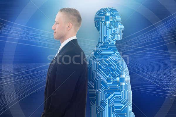 Stockfoto: Zakenman · permanente · Maakt · een · reservekopie · digitale · menselijke