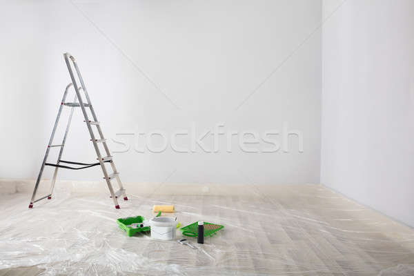 Painted White Room With Ladder And Painting Equipments Stock photo © AndreyPopov