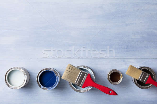 High Angle View Of Paint Can With Paintbrush Stock photo © AndreyPopov