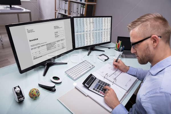 側面図 ビジネスマン 小さな 電卓 職場 ストックフォト © AndreyPopov