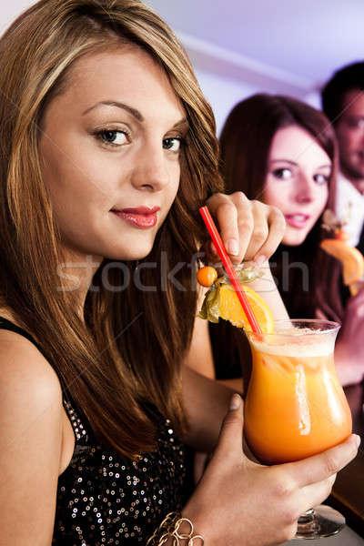 Piękna kobiet nightclub tequila Świt szkła Zdjęcia stock © AndreyPopov