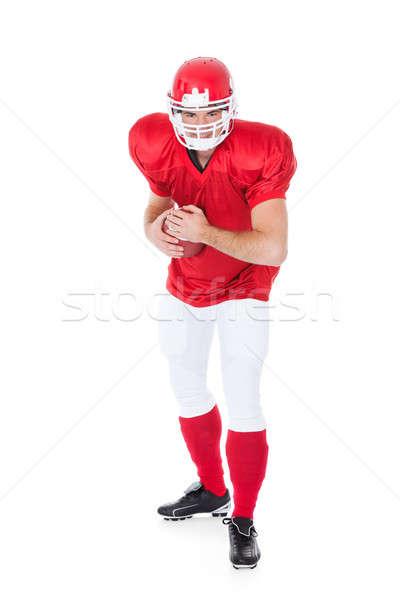 Porträt Rugby Spieler bereit Position weiß Stock foto © AndreyPopov