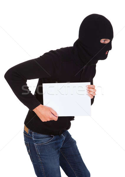 Inbreker man naar Maakt een reservekopie Stockfoto © AndreyPopov