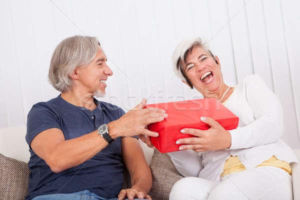 Nevet idős pár piros ajándék doboz megnyugtató kanapé Stock fotó © AndreyPopov